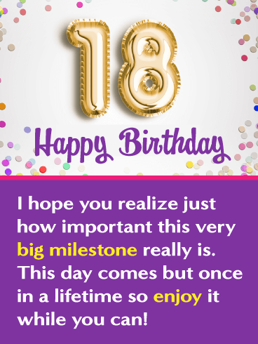 Once in a Lifetime – Happy 18th Birthday Card