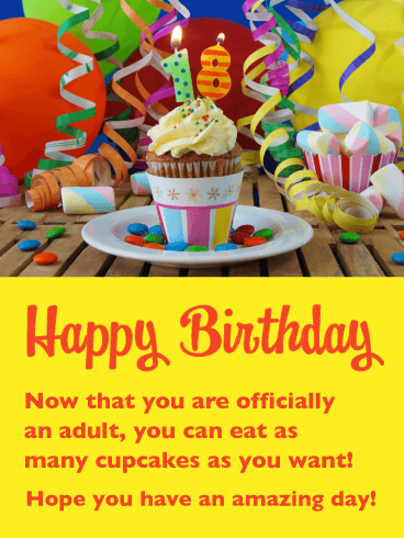 Amazing Cupcake – Happy 18th Birthday Card