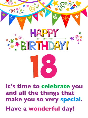 Time to Celebrate! Happy 18th Birthday Card