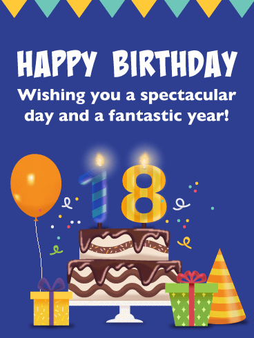 Cake & Presents – Happy 18th Birthday Card