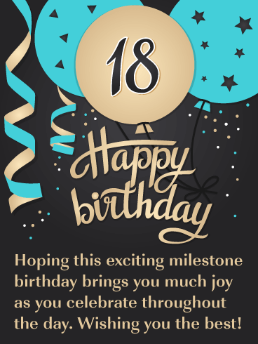 Exciting Celebration Balloons – Happy 18th Birthday Card