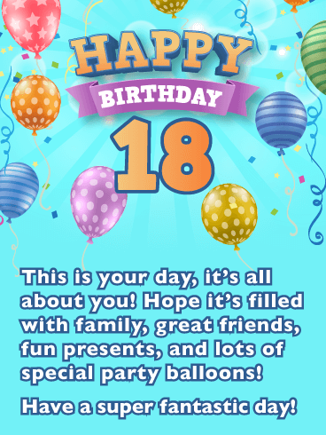 Colorful Party Balloons – Happy 18th Birthday Card