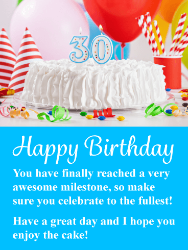 An Awesome Milestone - Happy 30th Birthday Card