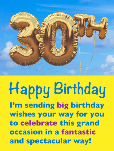 A Grand Occasion - Happy 30th Birthday Card