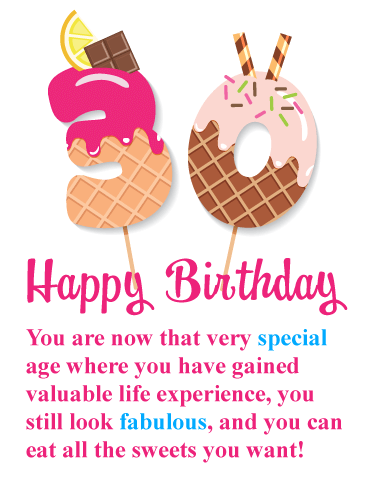 Irresistible Sweets - Happy 30th Birthday Card