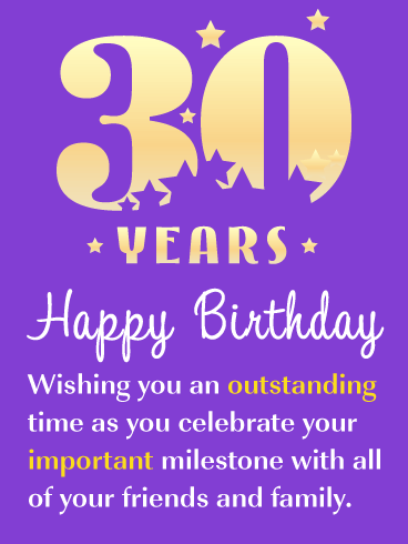 Important Milestone - Happy 30th Birthday Card