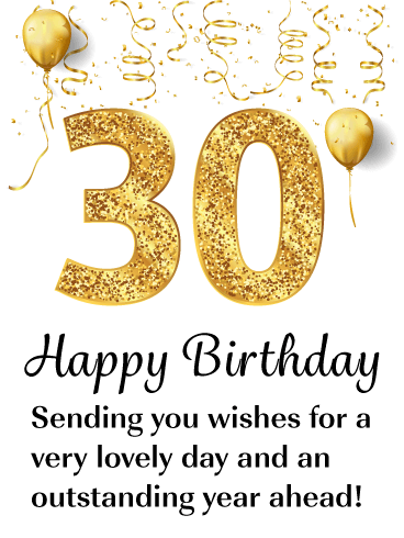 Golden Balloons - Happy 30th Birthday Card