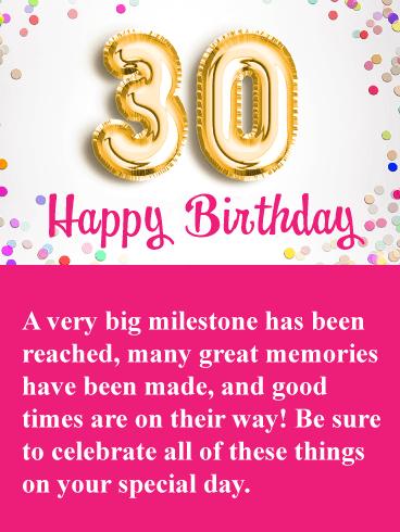 Great Memories Happy 30th Birthday Card Birthday Greeting