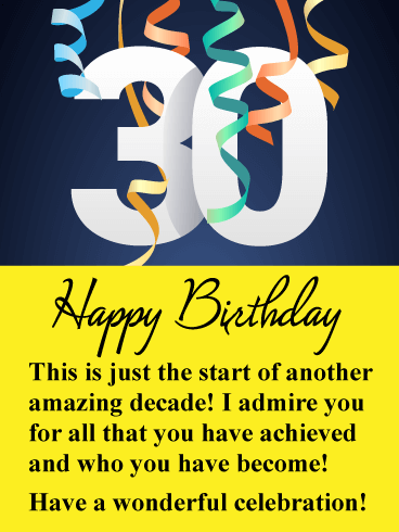 Wonderful Celebration - Happy 30th Birthday Card