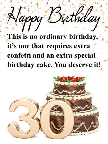 Astounding Fancy Cake Happy 30Th Birthday Card Birthday Greeting Cards Funny Birthday Cards Online Overcheapnameinfo