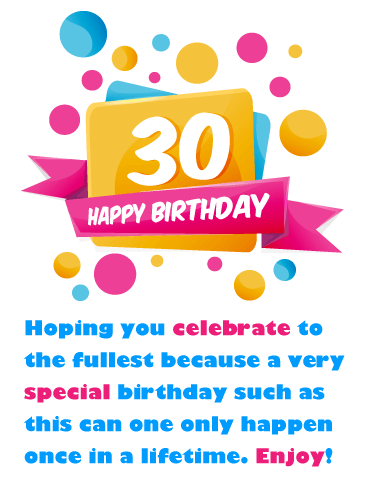 Fun Shapes Happy 30th Birthday Card Birthday Greeting Cards By