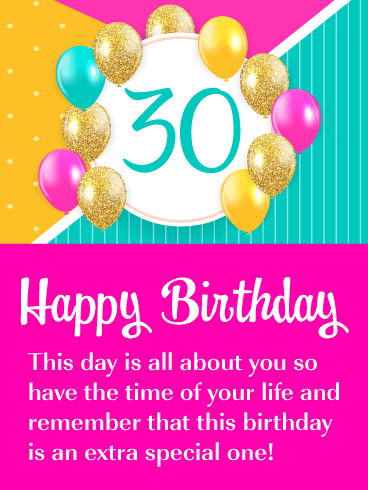 Colorful Balloons - Happy 30th Birthday Card