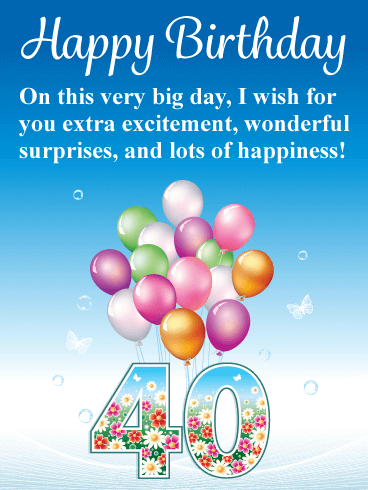 Flowers & Balloons - Happy 40th Birthday Card