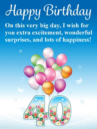 Flowers & Balloons   Happy 40th Birthday Card | Birthday