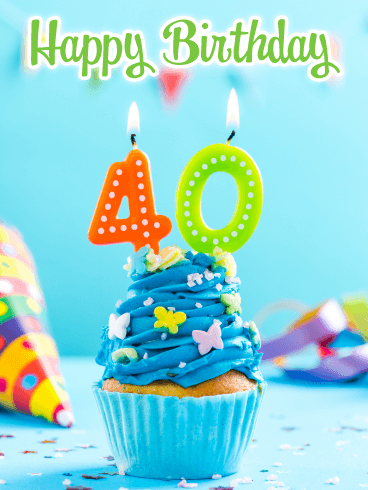 Awesome Cupcake - Happy 40th Birthday Card