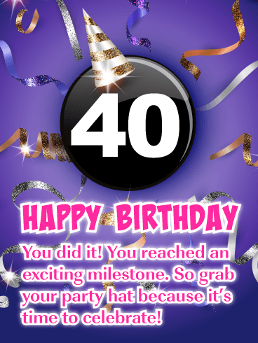 Exciting Purple Happy 40th Birthday Card