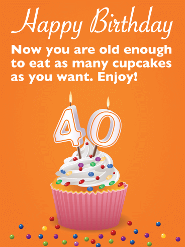 Delicious Cupcake - Happy 40th Birthday Card
