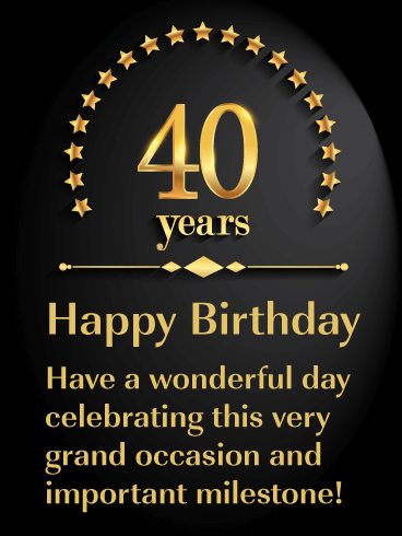 Golden Stars - Happy 40th Birthday Card