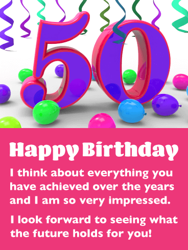 Festive Balloons - Happy 50th Birthday Card