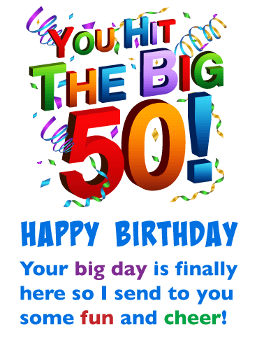 Fun and Cheer - Happy 50th Birthday Card