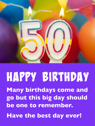 A Day to Remember - Happy 50th Birthday Card