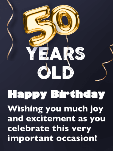 Golden Balloons - Happy 50th Birthday Card