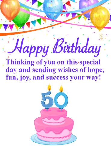 Balloons & Cake - Happy 50th Birthday Card