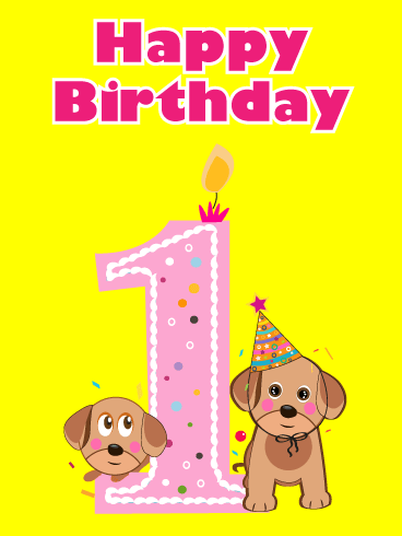 Adorable Puppies – Happy 1st Birthday Card