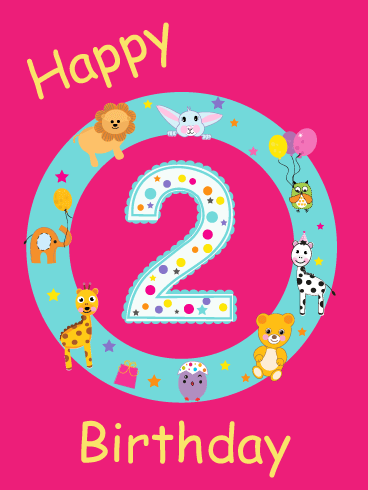 Fun Animals – Happy 2nd Birthday Card