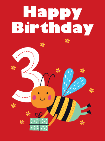 Sweet Bee – Happy 3rd Birthday Card