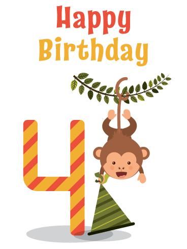 Cute Celebration Monkey Happy 4th Birthday Card Birthday Greeting Cards By Davia