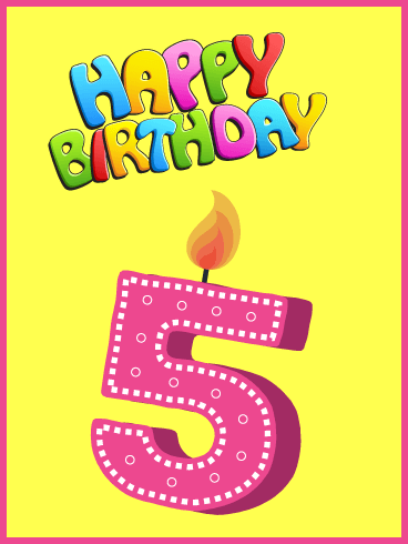 Vibrant Fun Colors - Happy 5th Birthday Card