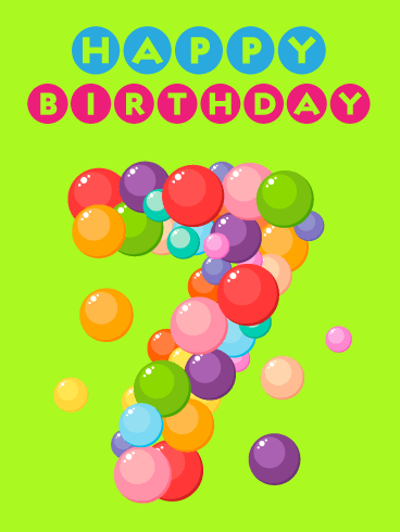 Fun Bubbles – Happy 7th Birthday Card