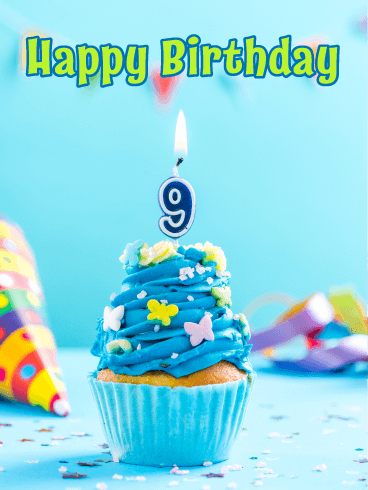 Yummy Cupcake – Happy 9th Birthday Card