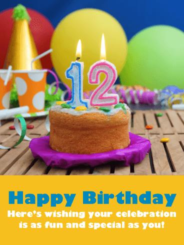 you/'re 12 birthday wishes girls 12th birthday card