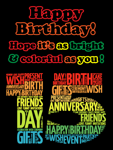 Be Bright and Colorful! Happy 15th Birthday Card