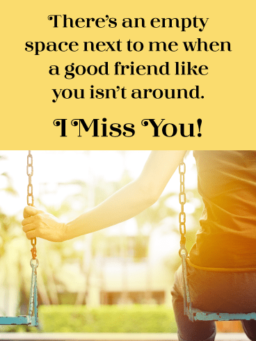 Sitting On A Swing-Miss You Card