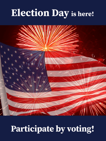 Fireworks and Flag - National Election Day Card