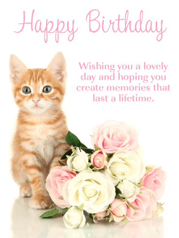 Sweet Kitten & Flowers - Happy Birthday Card
