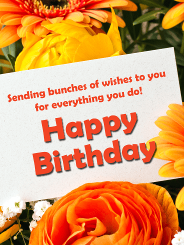 Blooms in Yellow and Orange - Happy Birthday Card