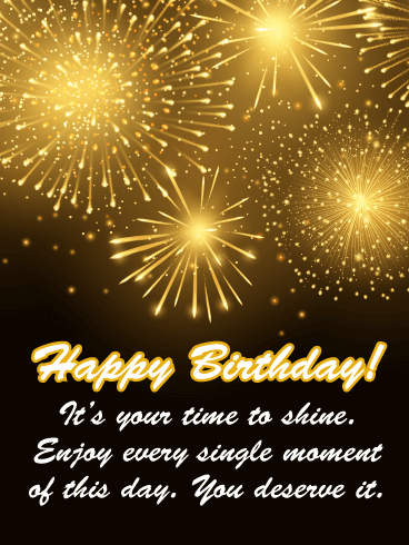 Golden Bursts of Light - Happy Birthday Card