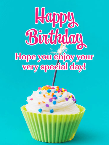 Sparkling Cupcake -  Happy Birthday Card