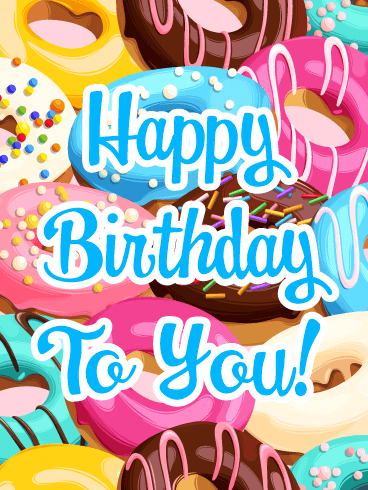 Yummy Donuts - Happy Birthday Card
