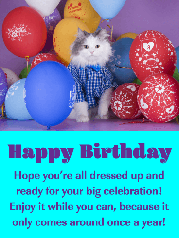 Kitty & Balloons - Happy Birthday Card