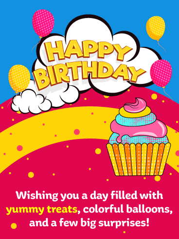 Colorful Cupcake - Happy Birthday Card