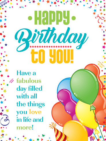 Festive Colors - Happy Birthday Card