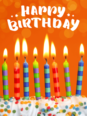 Decorative Celebration Candles - Happy Birthday Card