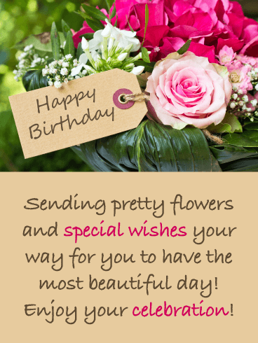 Sending Pretty Flowers - Happy Birthday Card