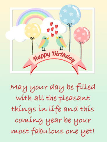 Cute Birds & Balloons - Happy Birthday Card