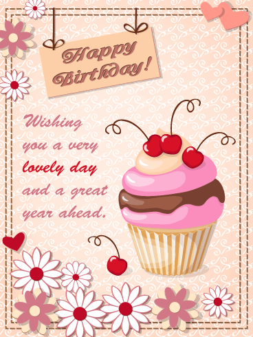 A Cherry Cupcake for You! Happy Birthday Card